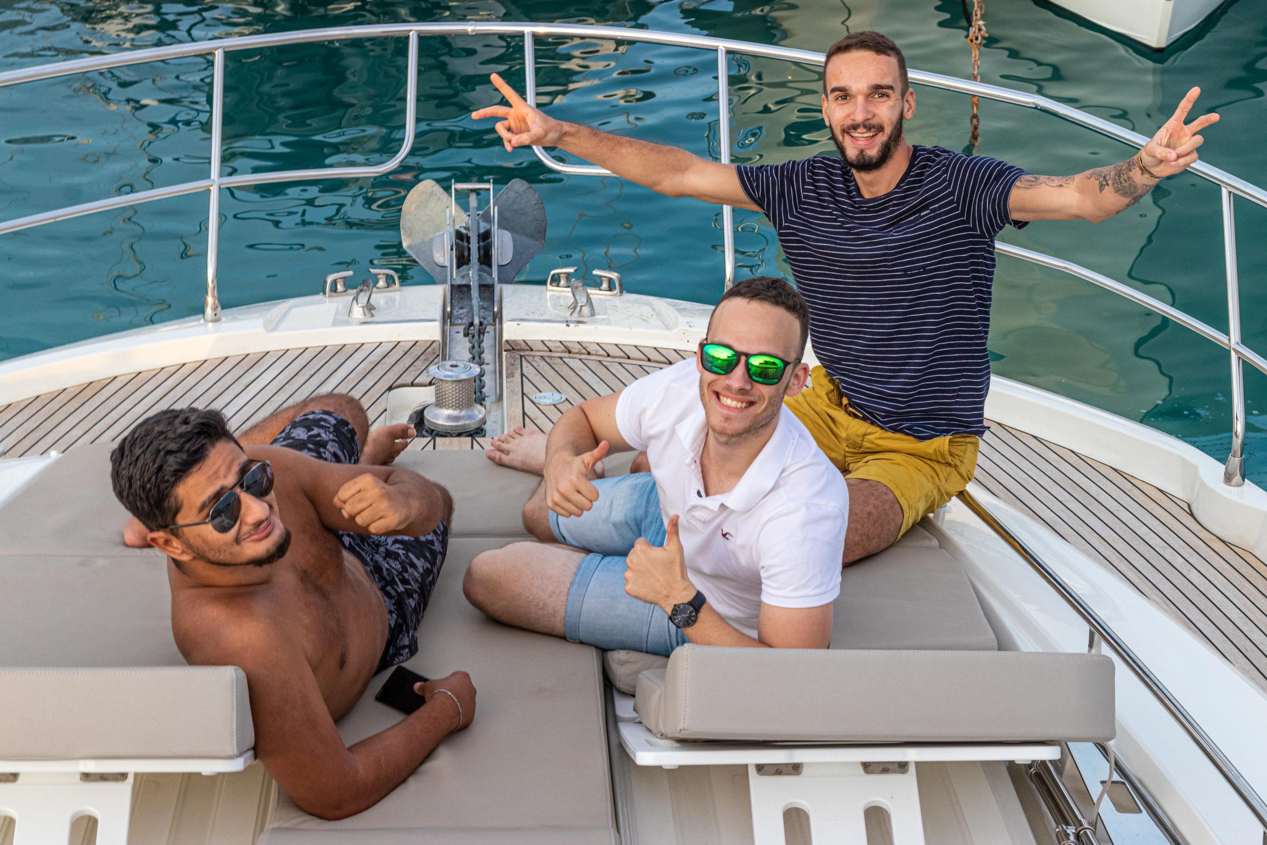 Vincent, Arnaud et Baptiste lors du séminaire sur le yacht. Comment vivre du coaching ?